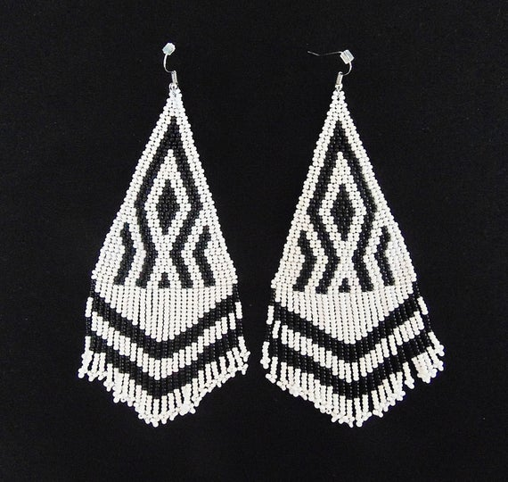 Thread and bead work used in earrings
