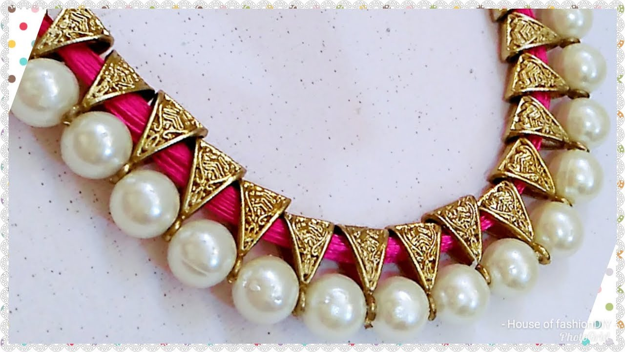 Pearls being used in necklaces